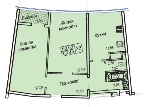 Двухкомнатная - ЖК 26 Жемчужина$72744Площадь:63.45m²