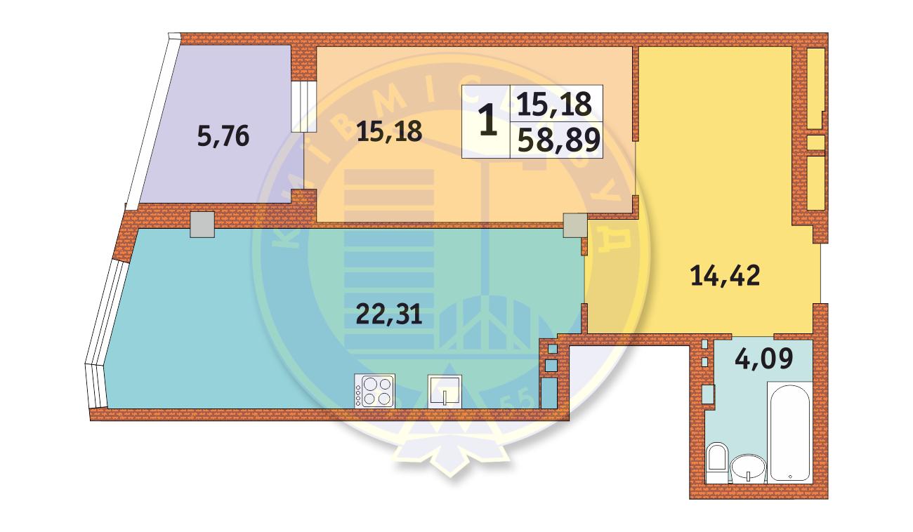Однокомнатная - ЖК Costa Fontana$78494Площадь:60.38m²