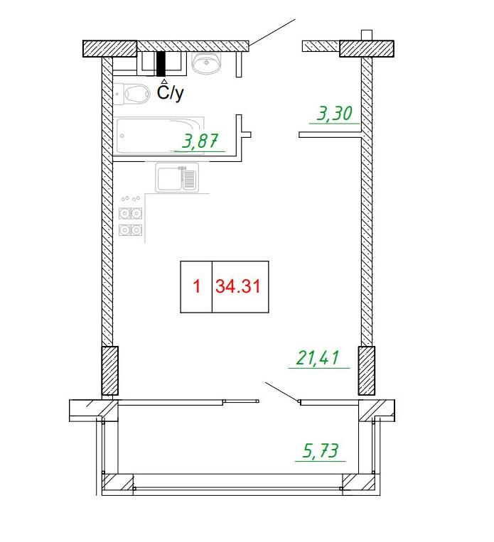 Однокомнатная - ЖК ArtVille (АртВилль)$24980Площадь:34.84m²