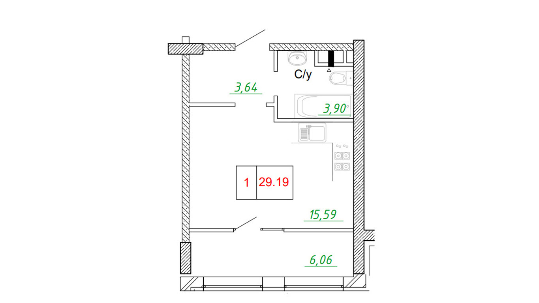 Однокомнатная - ЖК ArtVille (АртВилль)$21292Площадь:29.45m²