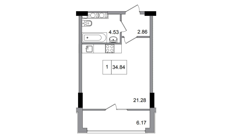 Однокомнатная - ЖК ArtVille (АртВилль)$24214Площадь:34.84m²