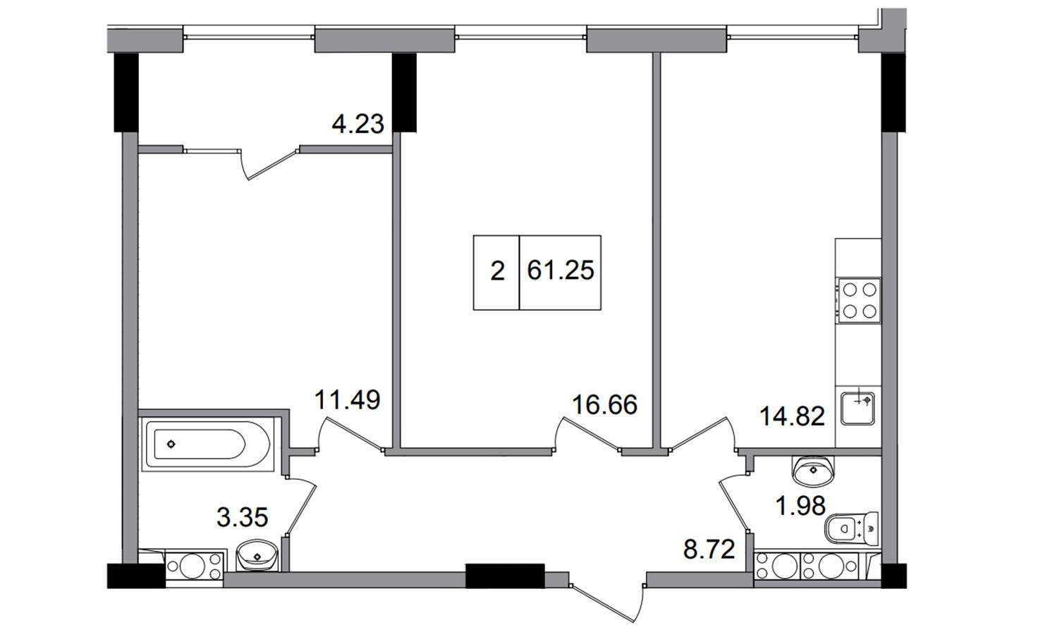 Двухкомнатная - ЖК ArtVille (АртВилль)$40817Площадь:60.47m²