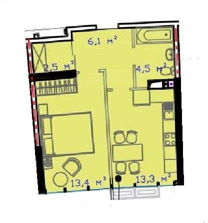 Однокомнатная - ЖК Авторский район$30885Площадь:43.5m²