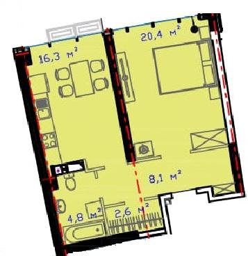 Однокомнатная - ЖК Авторский район$38595Площадь:52.87m²