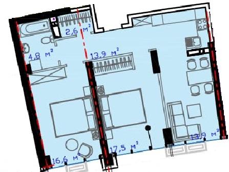 Двухкомнатная - ЖК Авторский район$46266Площадь:70.1m²