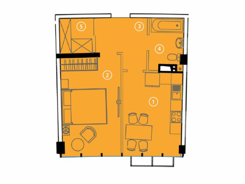 Однокомнатная - ЖК Авторский район$30380Площадь:43.4m²