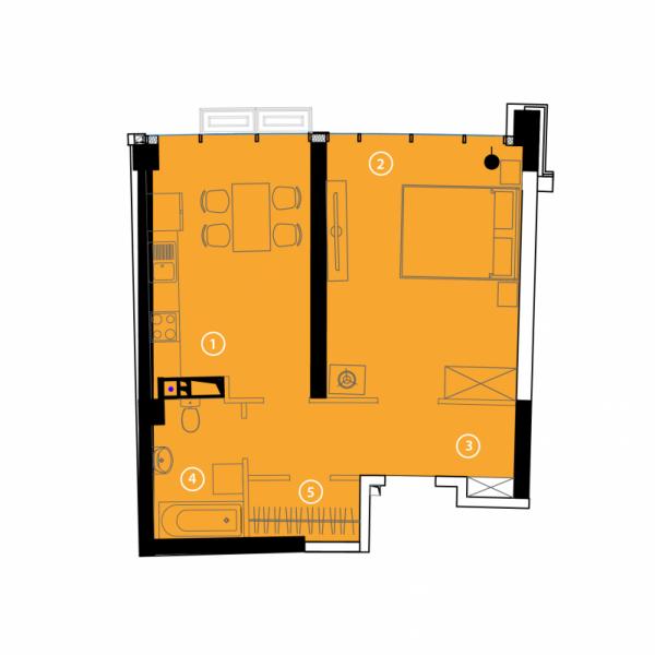 Однокомнатная - ЖК Авторский район$34775Площадь:53.5m²