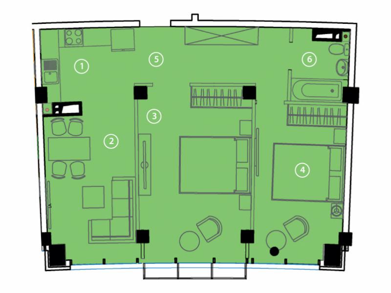 Двухкомнатная - ЖК Авторский район$48642Площадь:72.6m²