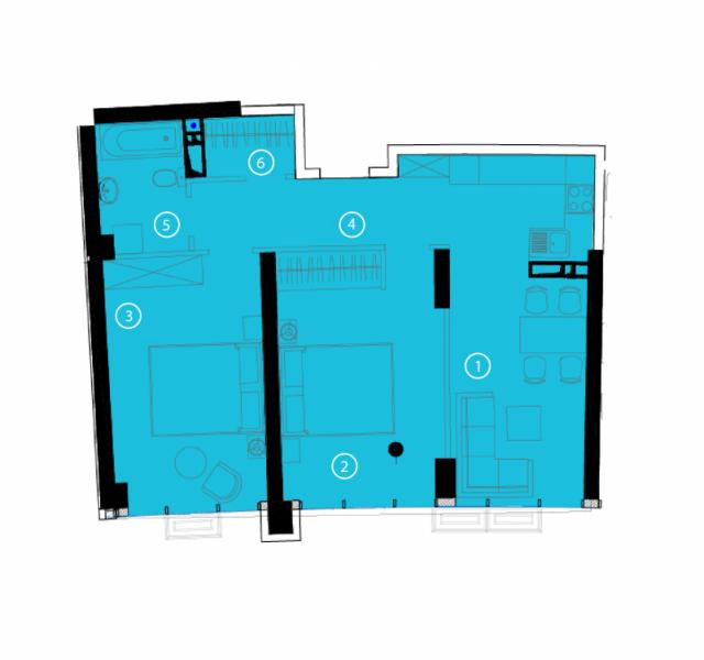 Двухкомнатная - ЖК Авторский район$43462Площадь:70.1m²