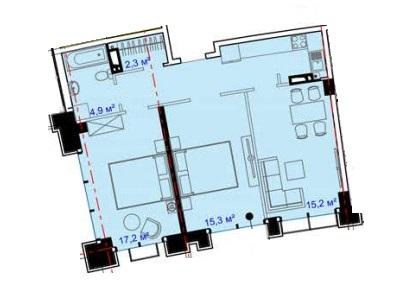 Двухкомнатная - ЖК Авторский район$54427Площадь:73.55m²