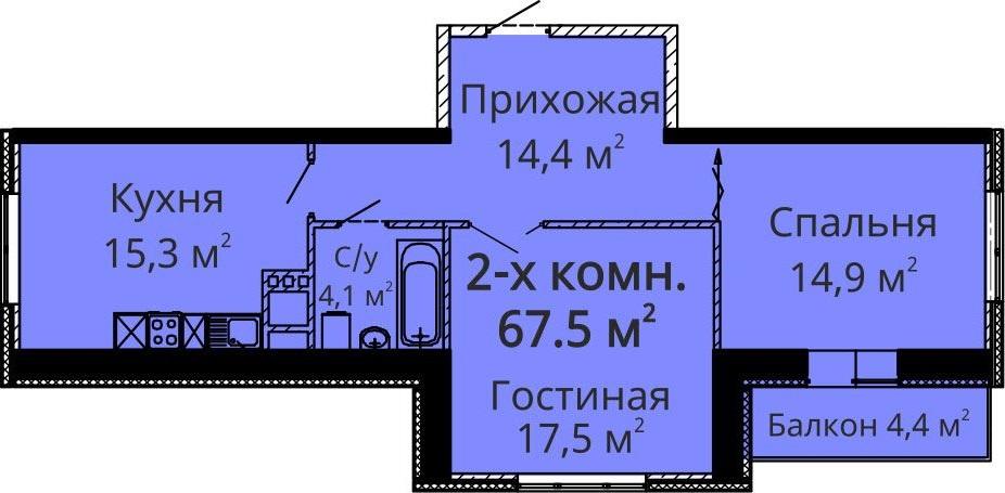 Двухкомнатная - ЖК Апельсин$70300Площадь:70.3m²