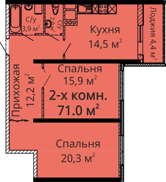 Двухкомнатная - ЖК Апельсин$75900Площадь:75.9m²