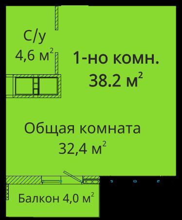 Однокомнатная - ЖК Михайловский городок$30767Площадь:38.7m²
