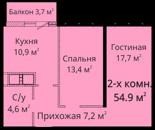 Двухкомнатная - ЖК Михайловский городок$58395Площадь:69.8m²
