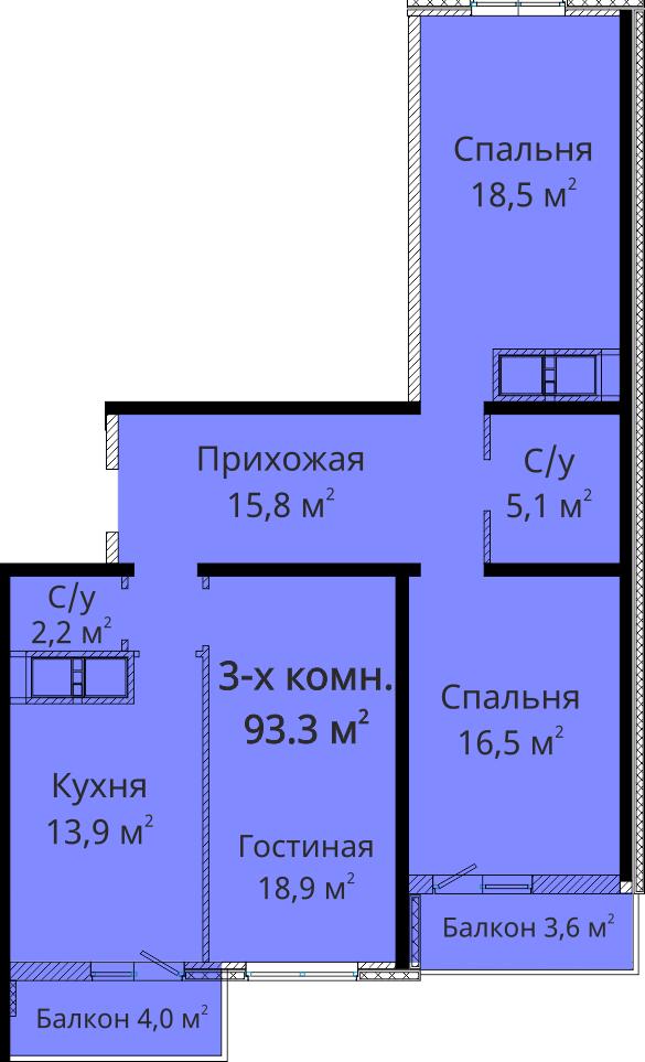 Трехкомнатная - ЖК Михайловский городок$71580Площадь:95.7m²