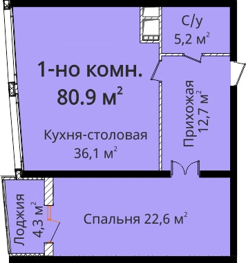 Однокомнатная - ЖК Новый берег$90324Площадь:77.2m²