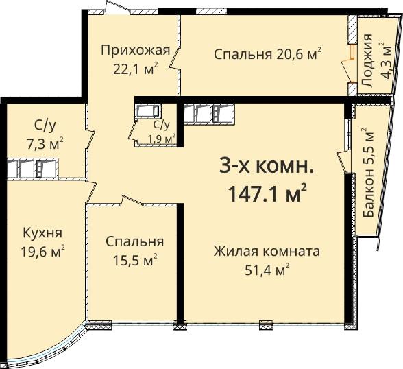 Трехкомнатная - ЖК Новый берег$176520Площадь:147.1m²