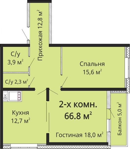Двухкомнатная - ЖК Омега$56780Площадь:66.8m²