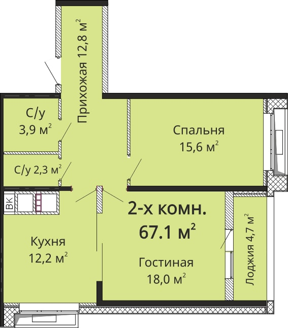 Двухкомнатная - ЖК Омега$52105Площадь:61.3m²