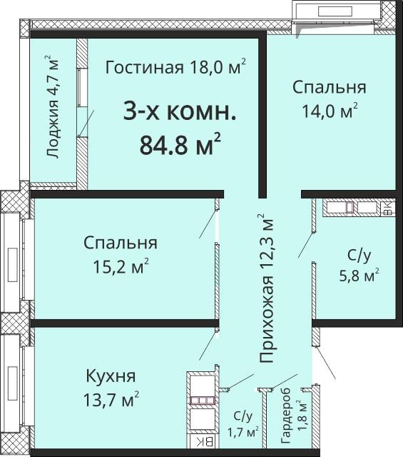 Трехкомнатная - ЖК Омега$72080Площадь:84.8m²