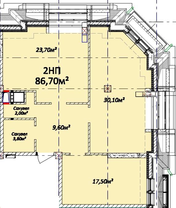 Двухкомнатная - Дом на Осипова, 40$112710Площадь:86.7m²