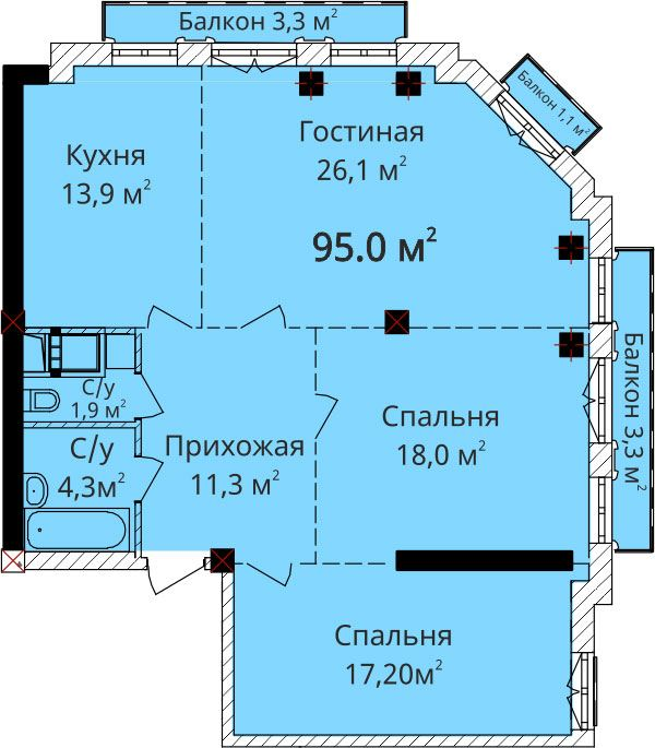 Трехкомнатная - Дом на Осипова, 40$146150Площадь:92.5m²