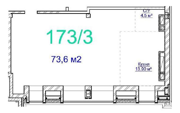 Двухкомнатная - ЖК Авторский$69776Площадь:71.2m²
