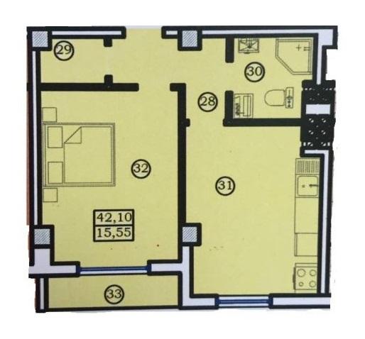 Однокомнатная - Дом на Ольгиевской$48415Площадь:42.1m²