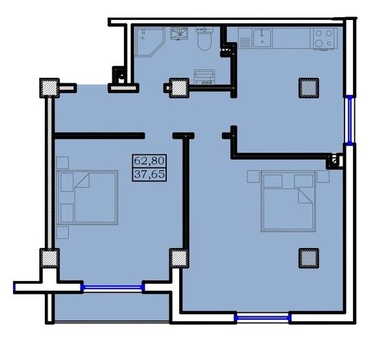 Двухкомнатная - Дом на Ольгиевской$65940Площадь:62.8m²