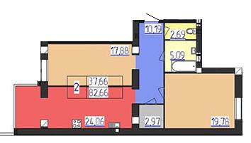 Двухкомнатная - ЖК Форрест forRest$45334Площадь:84.49m²