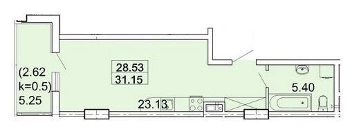 Однокомнатная - ЖК Акрополь$31574Площадь:31.23m²