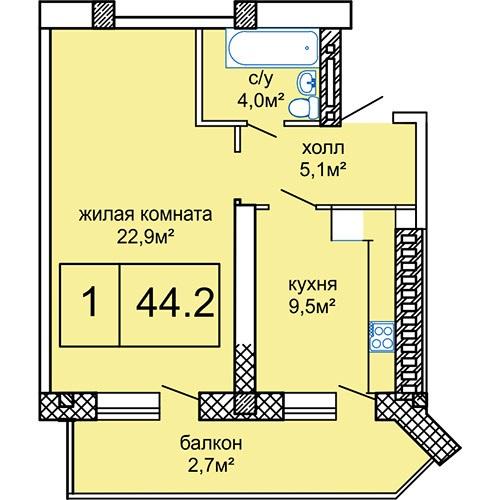 Однокомнатная - ЖК Вернисаж$41330Площадь:44.2m²