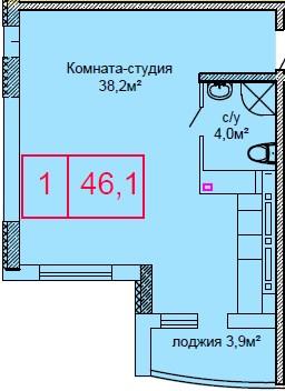 Однокомнатная - ЖК Вернисаж$32384Площадь:46.1m²