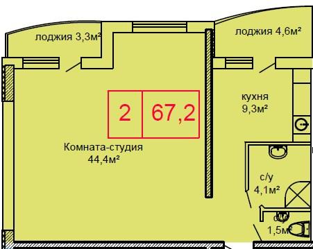 Двухкомнатная - ЖК Вернисаж$42358Площадь:67.2m²