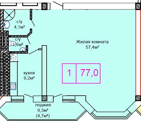Двухкомнатная - ЖК Вернисаж$62000Площадь:75m²