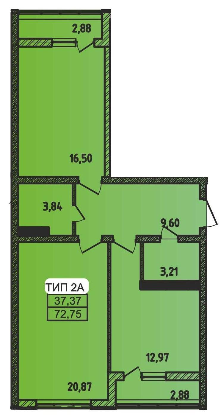Двухкомнатная - ЖК Сити Парк$47999Площадь:72.75m²