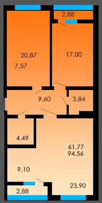 Трехкомнатная - ЖК Сити Парк$53617Площадь:95m²