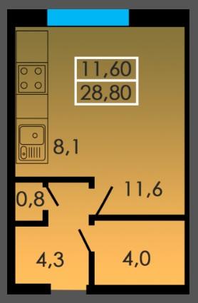 Однокомнатная - ЖК Сити Парк$19886Площадь:28.8m²