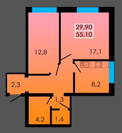 Двухкомнатная - ЖК Сити Парк$30861Площадь:55m²