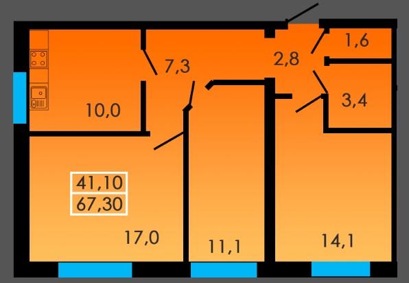 Трехкомнатная - ЖК Сити Парк$42725Площадь:67m²