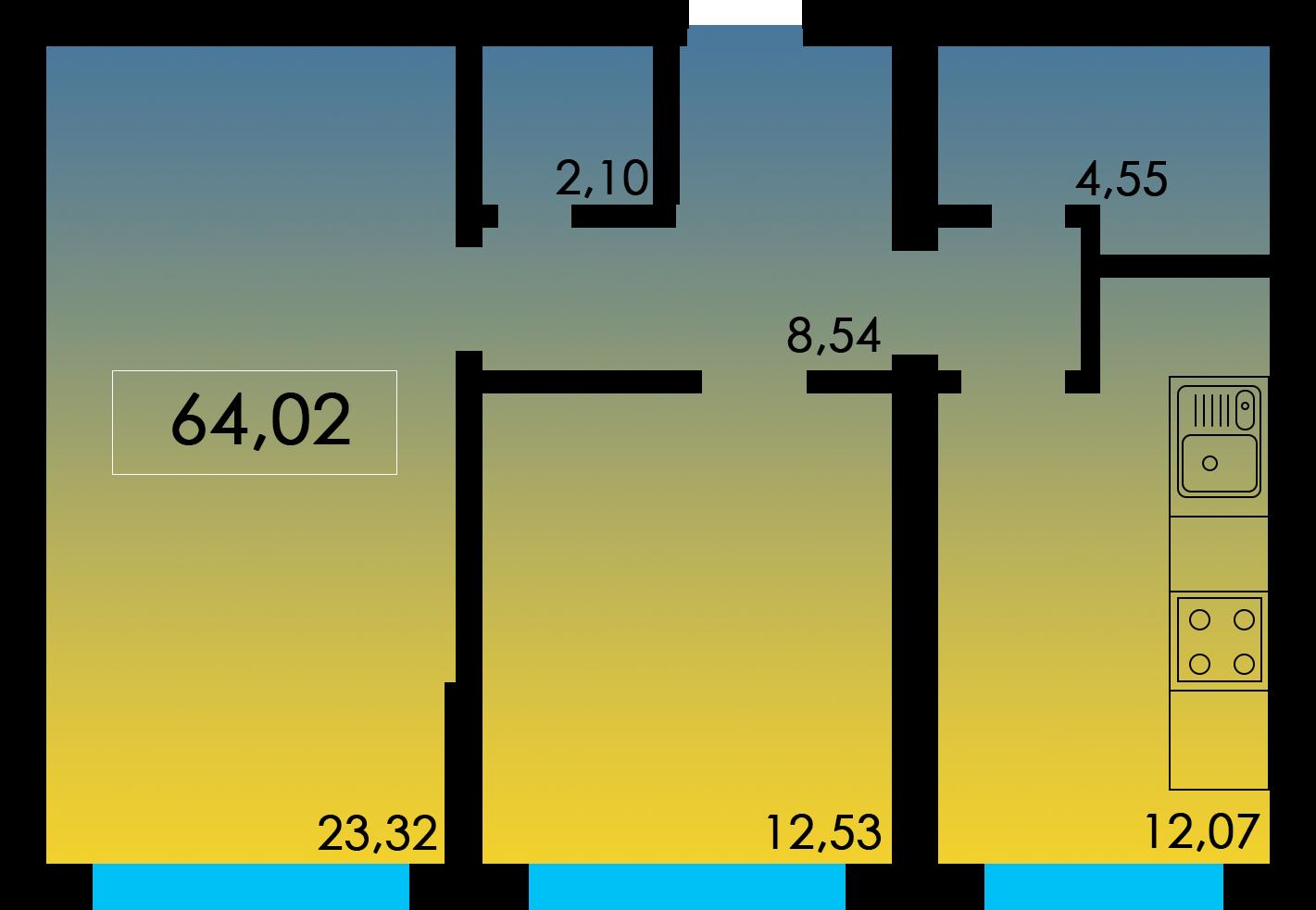 Двухкомнатная - ЖК Острова дом Мальдивы$38207Площадь:64.02m²