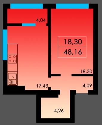 Однокомнатная - ЖК Острова дом Таити$25519Площадь:43m²