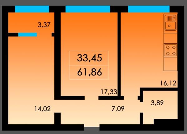 Двухкомнатная - ЖК Острова дом Таити$35290Площадь:62m²