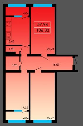 Трехкомнатная - ЖК Острова дом Таити$57010Площадь:106m²