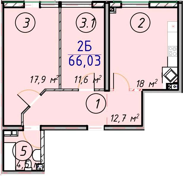 Двухкомнатная - ЖК ЛЕСSKY - ЛесСкай$40118Площадь:66.03m²