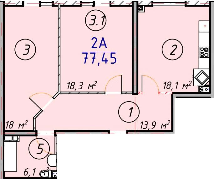 Двухкомнатная - ЖК ЛЕСSKY - ЛесСкай$47057Площадь:77.45m²