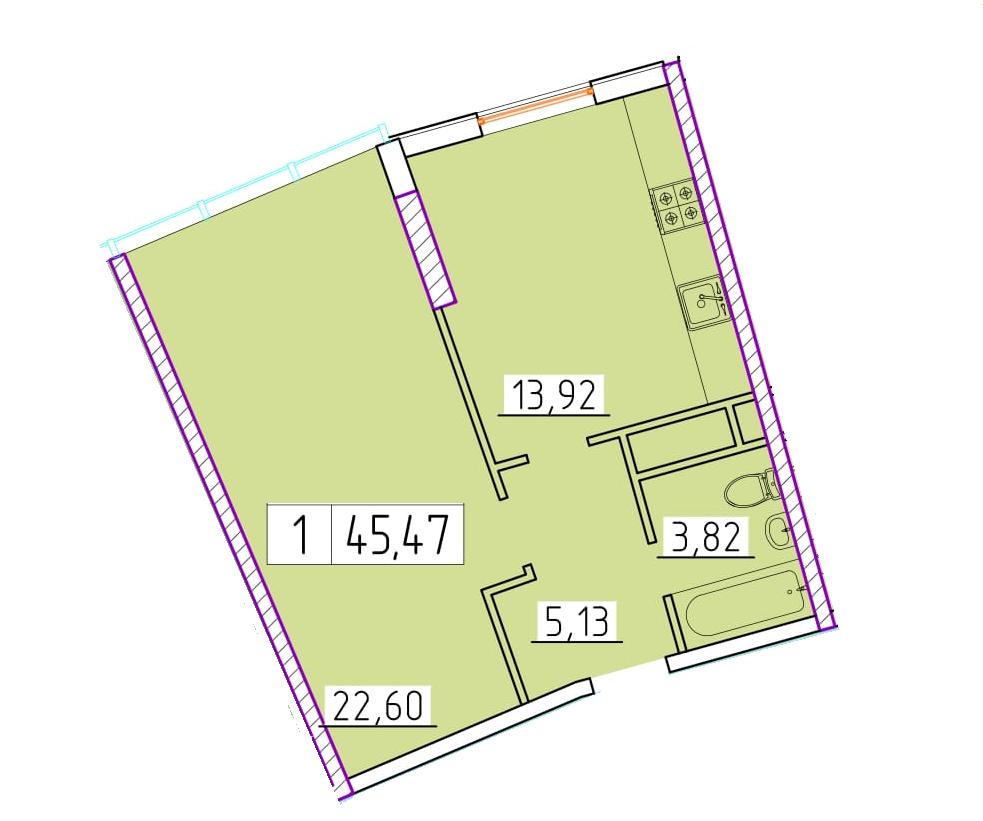 Однокомнатная - ЖК 42 Жемчужина$48936Площадь:45.47m²