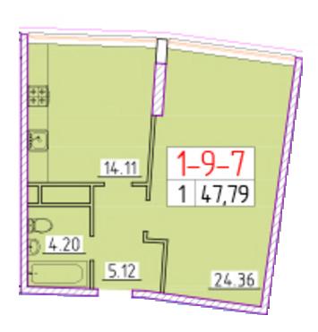 Однокомнатная - ЖК 42 Жемчужина$52466Площадь:48.75m²