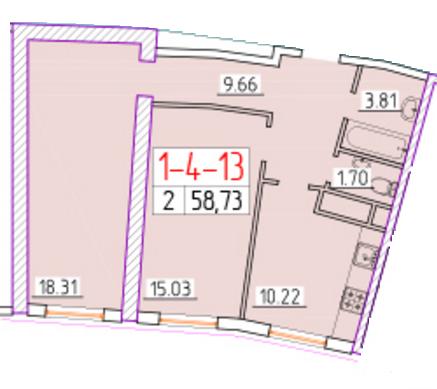 Двухкомнатная - ЖК 42 Жемчужина$59429Площадь:61.26m²