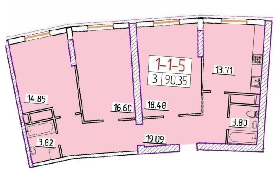 Трехкомнатная - ЖК 42 Жемчужина$81257Площадь:90.35m²